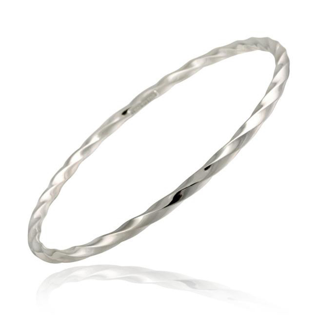 Sterling Silver Twisted Style Bangle Bracelet With Diamond Cut Finish