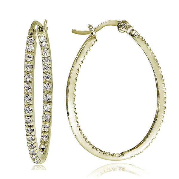Cubic Zirconia Accented Saddleback Oval Hoop Earrings - Yellow Gold
