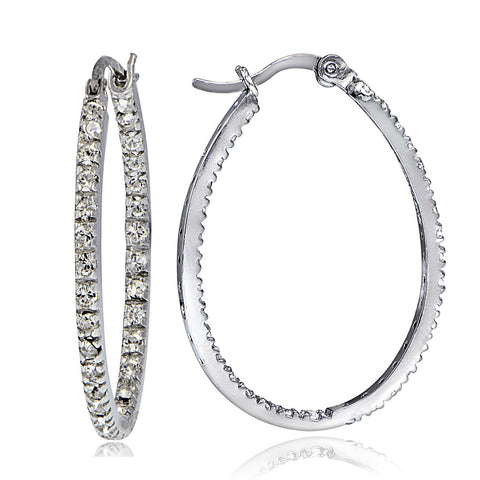 Cubic Zirconia Accented Saddleback Oval Hoop Earrings - Silver