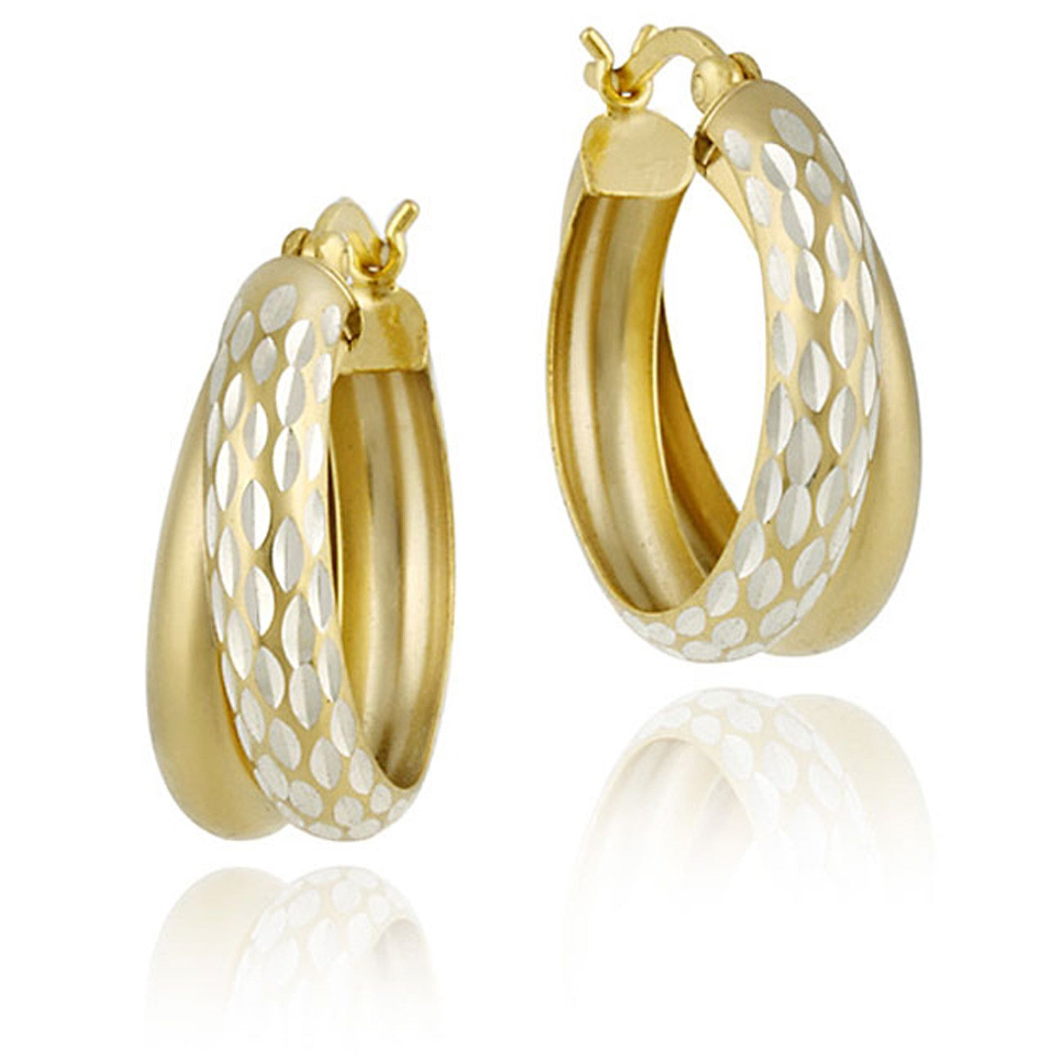 Diamond Cut Finish Saddleback Double Hoop Style Earrings - Gold