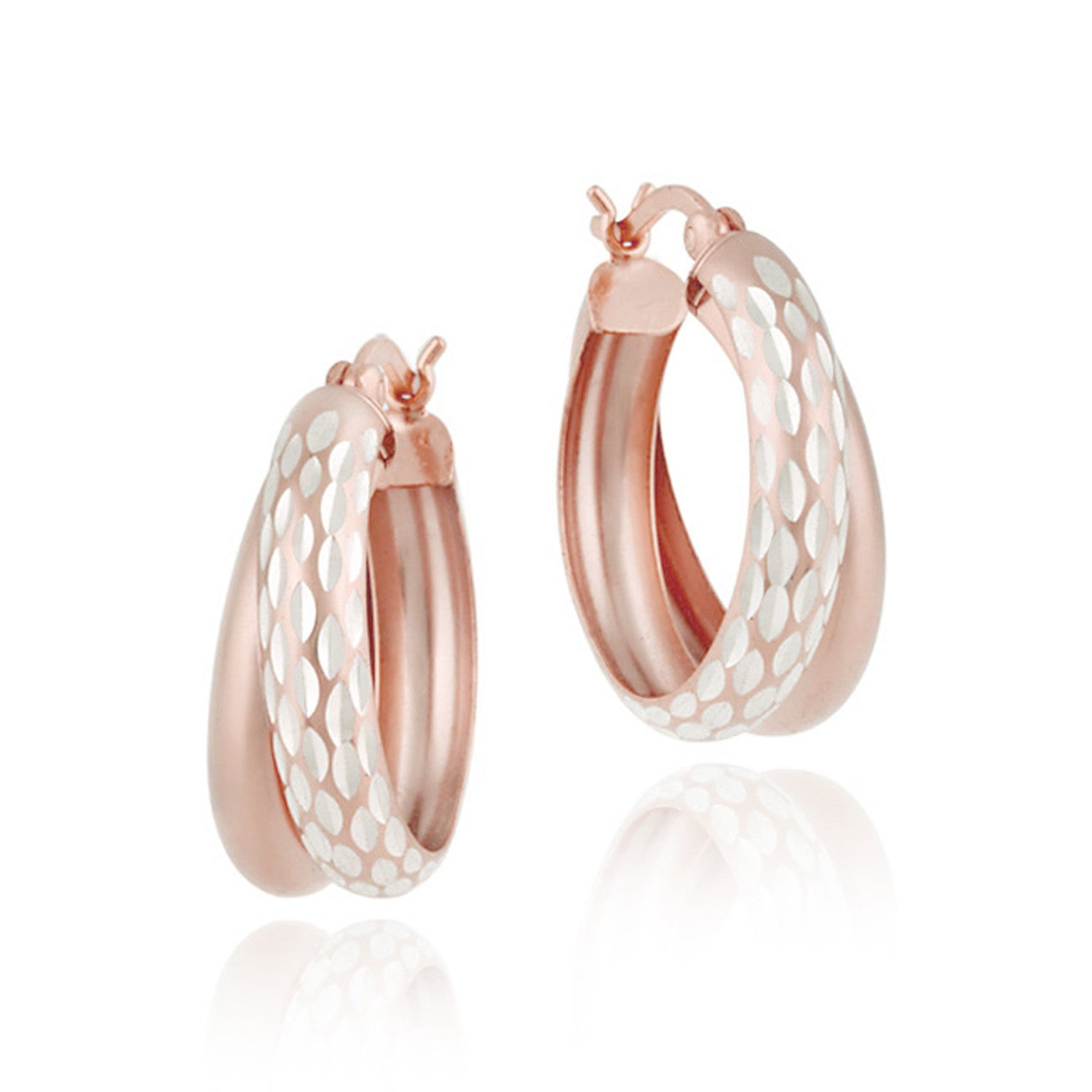 Diamond Cut Finish Saddleback Double Hoop Style Earrings - Rose Gold