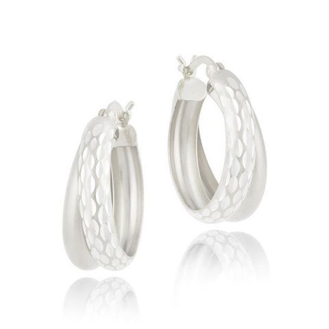 Diamond Cut Finish Saddleback Double Hoop Style Earrings - Silver