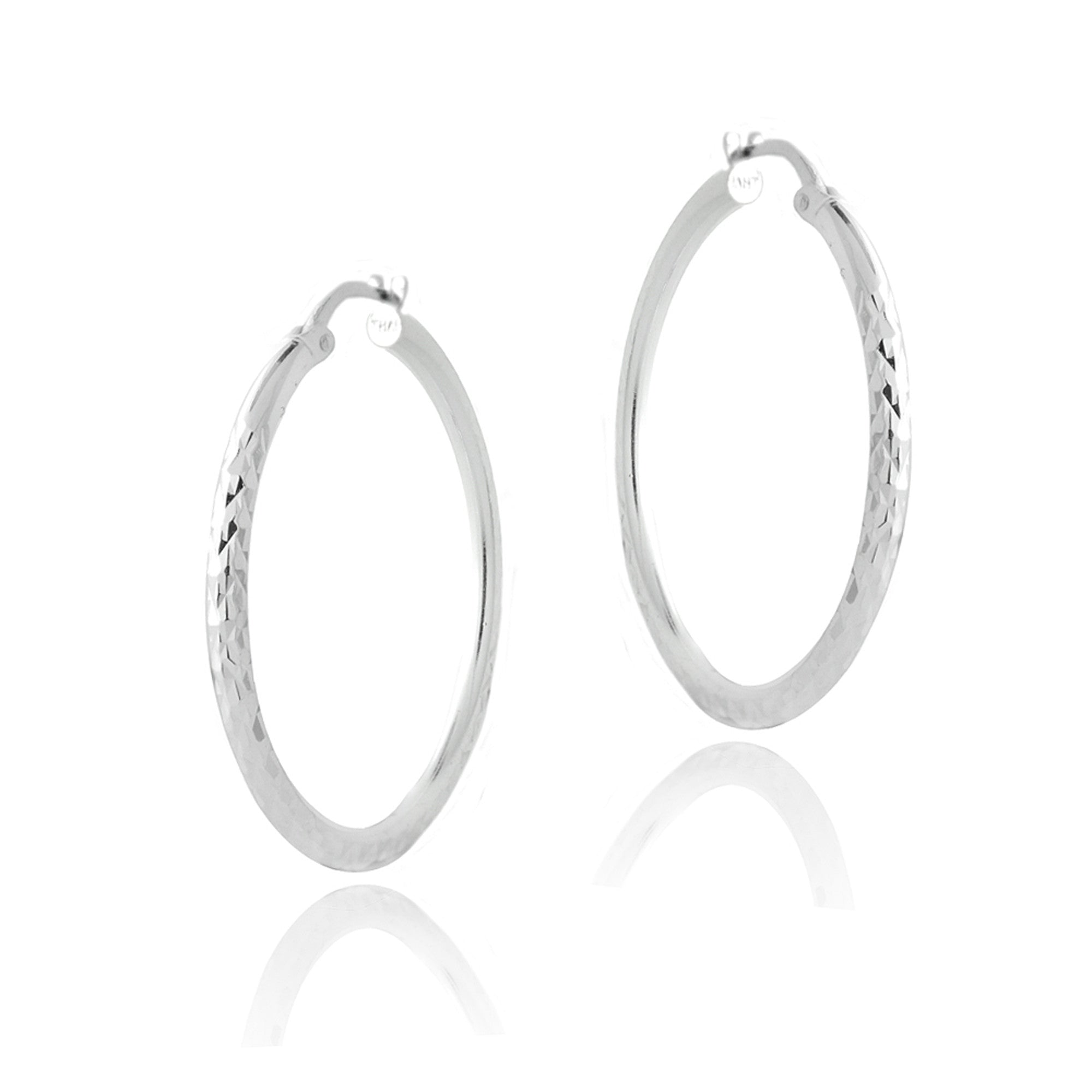Diamond Cut Finish Saddleback Hoop Earrings - Sterling Silver