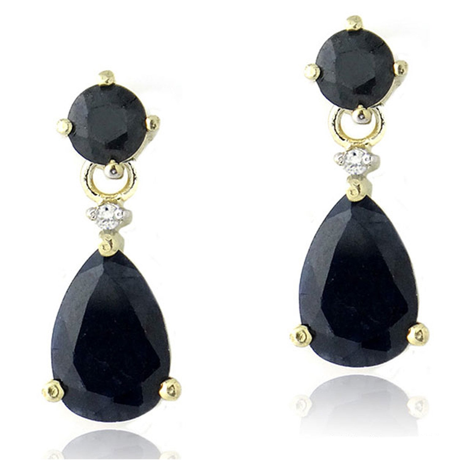 Diamond & Gemstone Accent Butterfly Clasp Teardrop Earrings - Gold / Sapphire