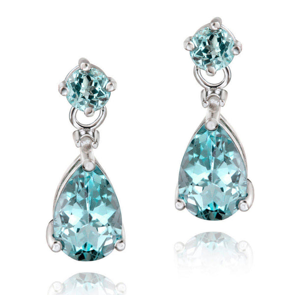 Diamond & Gemstone Accent Butterfly Clasp Teardrop Earrings - Silver / Blue Topaz