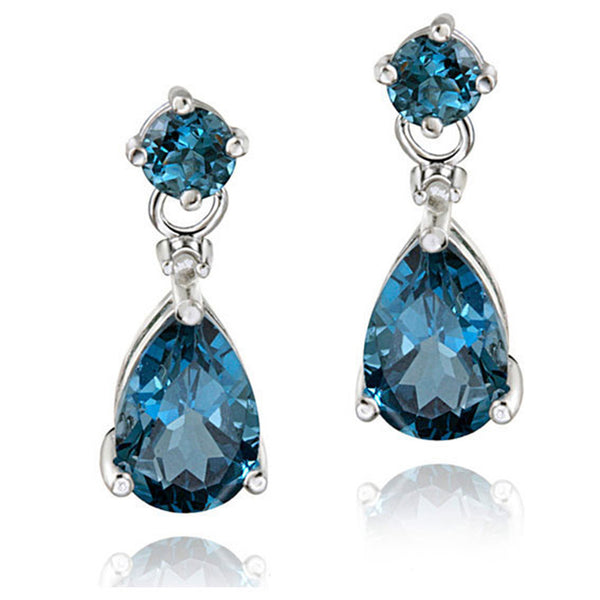 Diamond & Gemstone Accent Butterfly Clasp Teardrop Earrings - Silver / London Blue Topaz