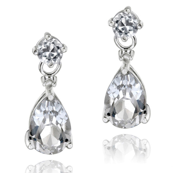 Diamond & Gemstone Accent Butterfly Clasp Teardrop Earrings - Silver / White Topaz