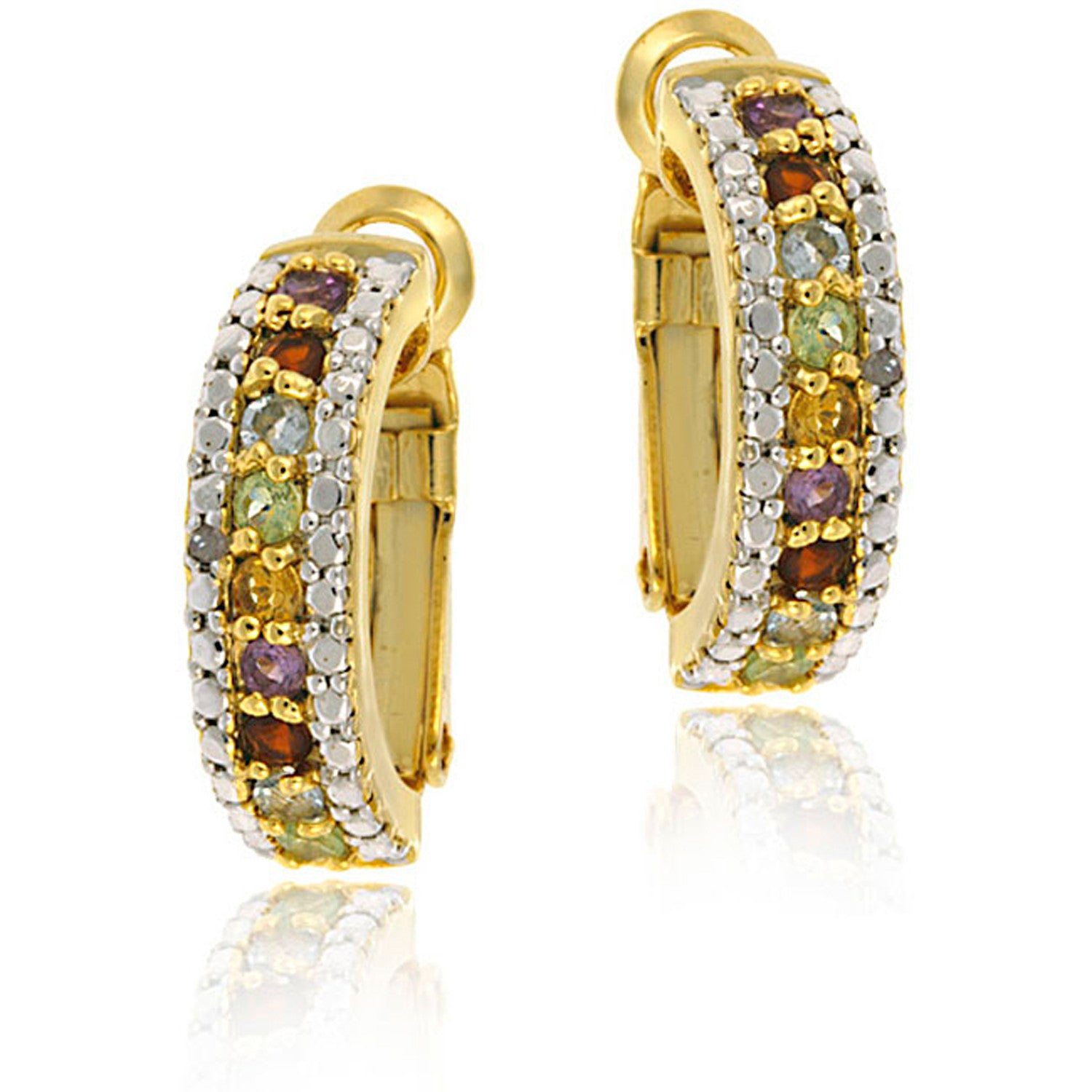 Gemstone Accented Clip-in Semi Hoop Earrings - Gold / Multi