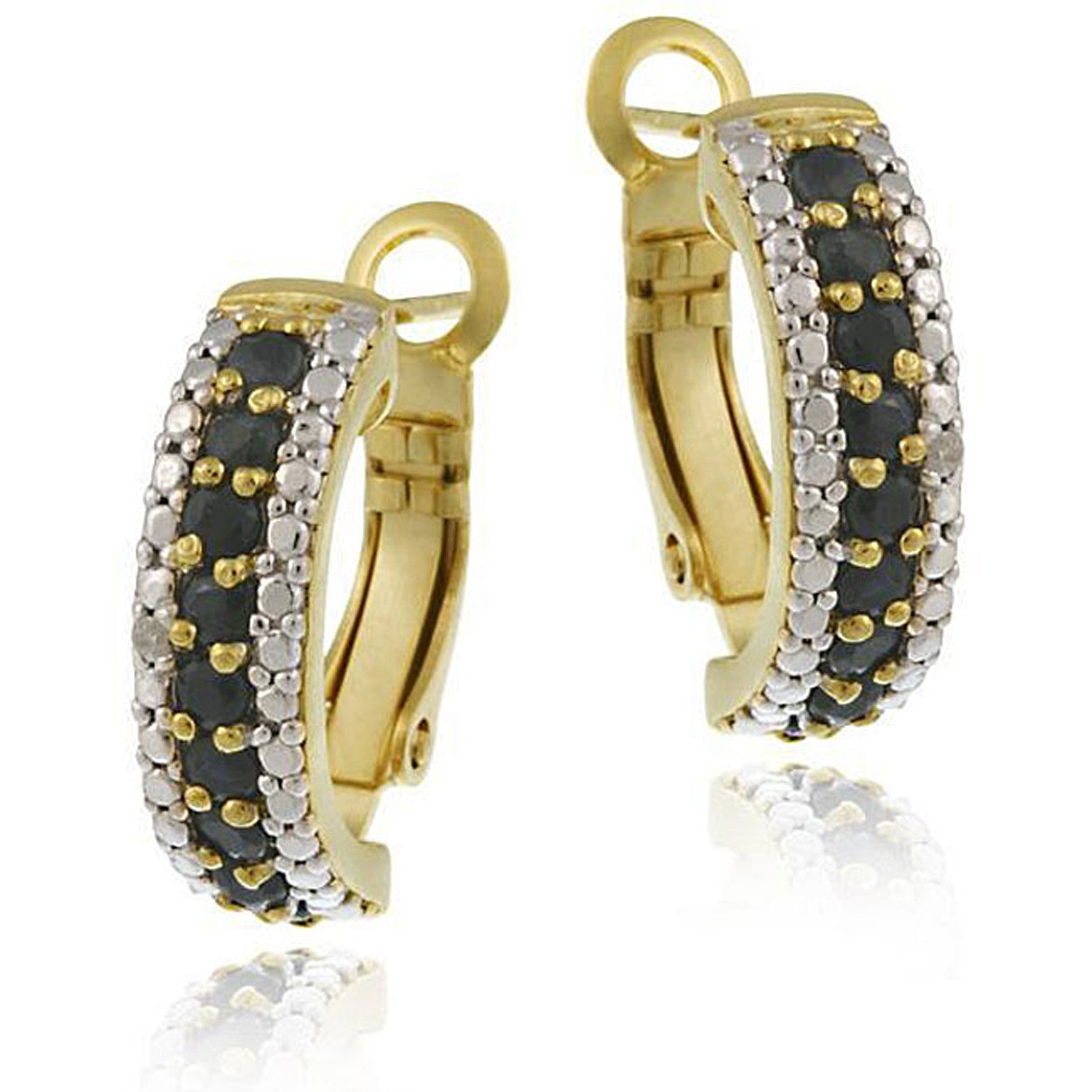 Gemstone Accented Clip-in Semi Hoop Earrings - Gold / Sapphire