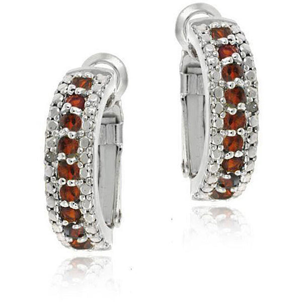 Gemstone Accented Clip-in Semi Hoop Earrings - Silver / Garnet