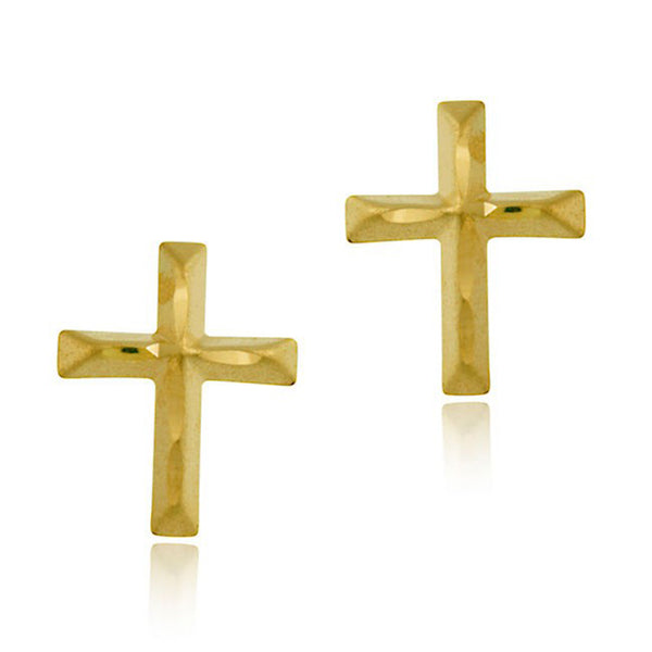 10k Gold Butterfly Clasp Diamond Cut Cross Earrings