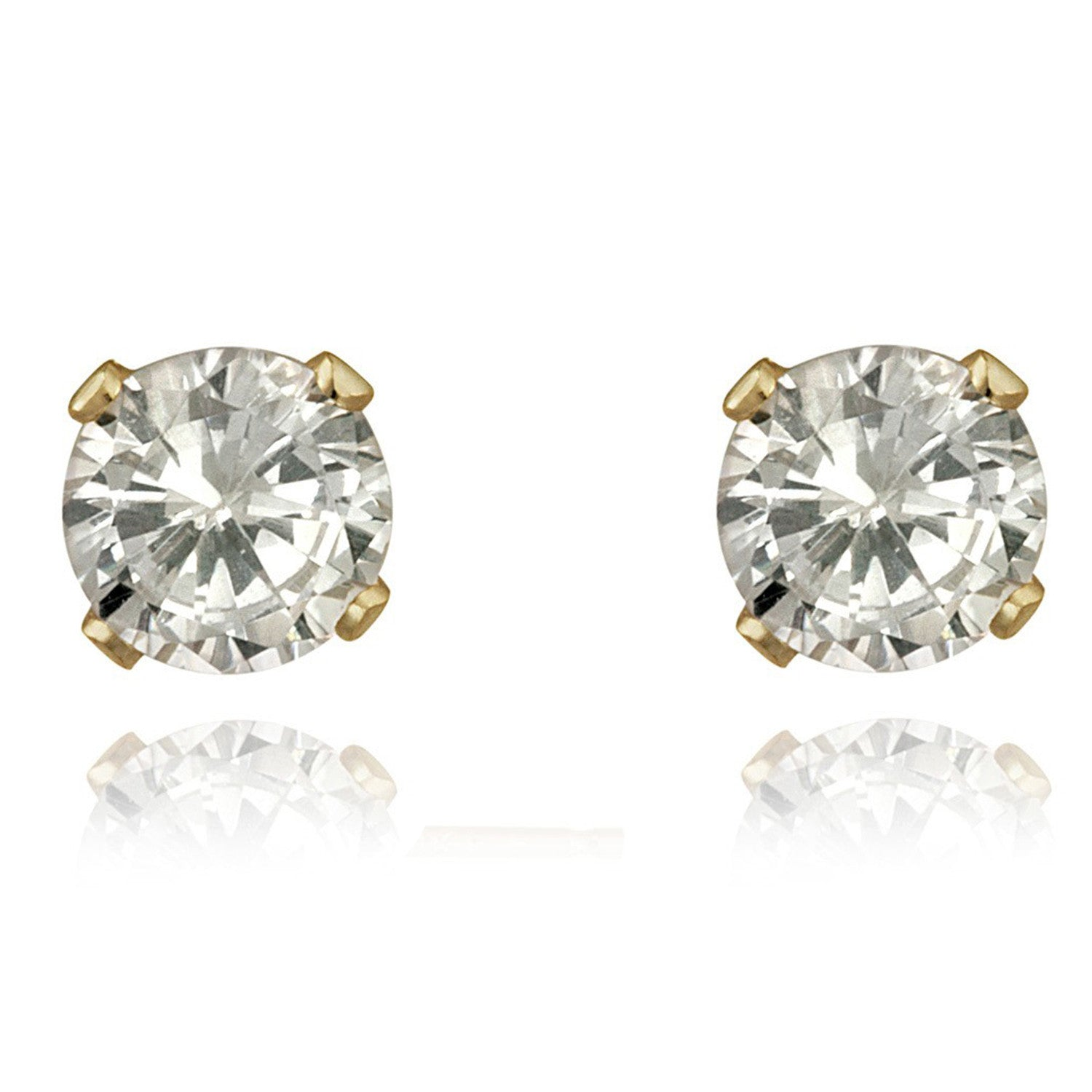 14k Gold Round Cubic Zirconia Butterfly Clasp Stud Earrings - 3mm