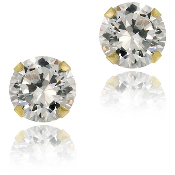 14k Gold Round Cubic Zirconia Butterfly Clasp Stud Earrings - 5mm