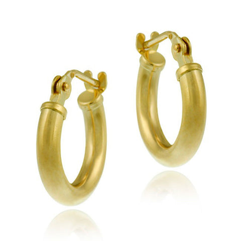10k Gold Mini Saddleback Hoop Earrings - 11mm