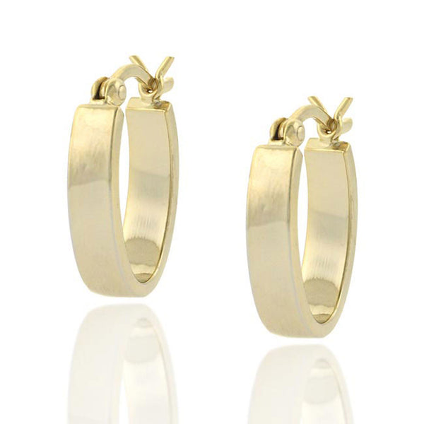 18k Gold Over Sterling Silver Clip-in Mini Oval Earrings