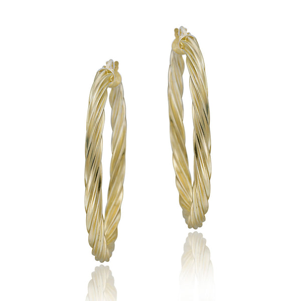 18k Gold Over Sterling Silver Corrugated Saddleback Hoop Earrings