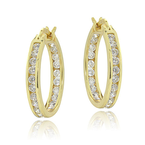 18k Gold Over Silver Cubic Zirconia Accented Saddleback Hoop Earrings
