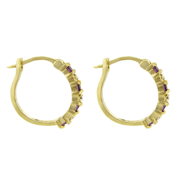 18k Gold Over Sterling Silver Diamond Accent Saddleback Hoop Earrings - Amethyst