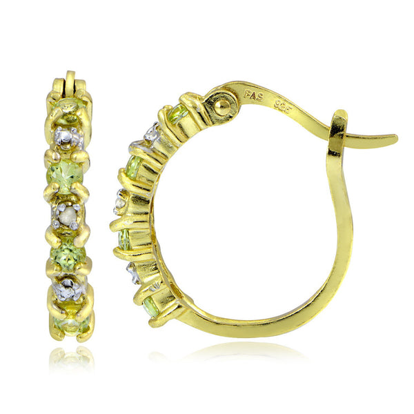 18k Gold Over Sterling Silver Diamond Accent Saddleback Hoop Earrings - Peridot