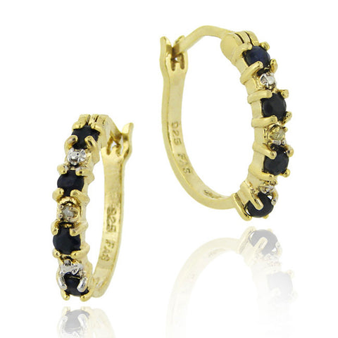 18k Gold Over Sterling Silver Diamond Accent Saddleback Hoop Earrings - Sapphire