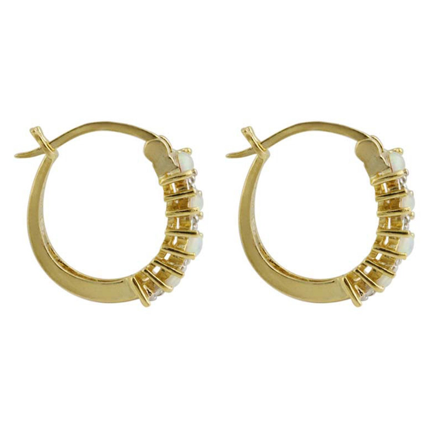 18k Gold Over Sterling Silver Diamond Accent & Synthetic Opal Saddleback Hoop Earrings