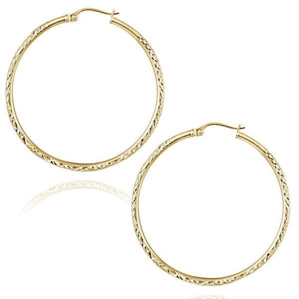 22k Gold Over Sterling Silver Diamond Cut Finish Saddleback Hoop Earrings