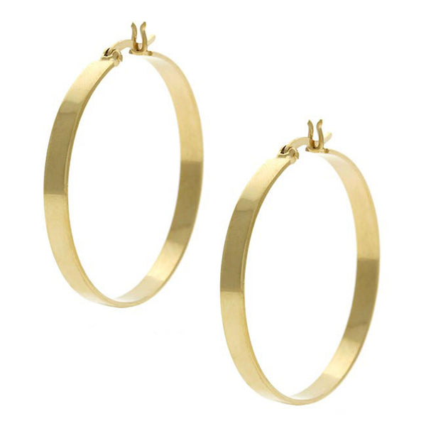 18k Gold Over Sterling Silver Large Saddleback Hoop Earrings