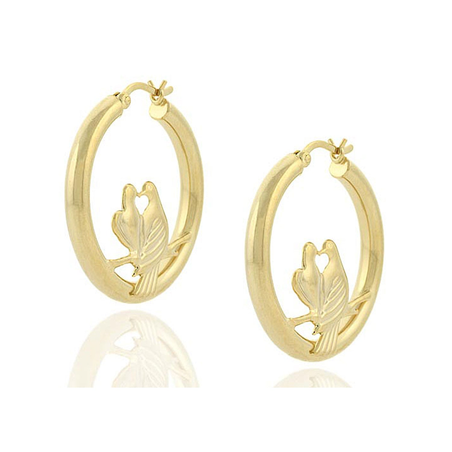 18k Gold Over Sterling Silver Love Birds Saddleback Hoop Earrings