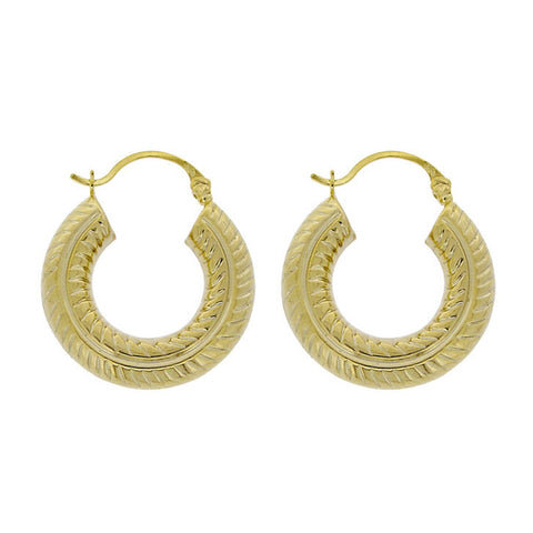 18k Gold Over Sterling Silver Rope Detail Saddleback Hoop Earrings