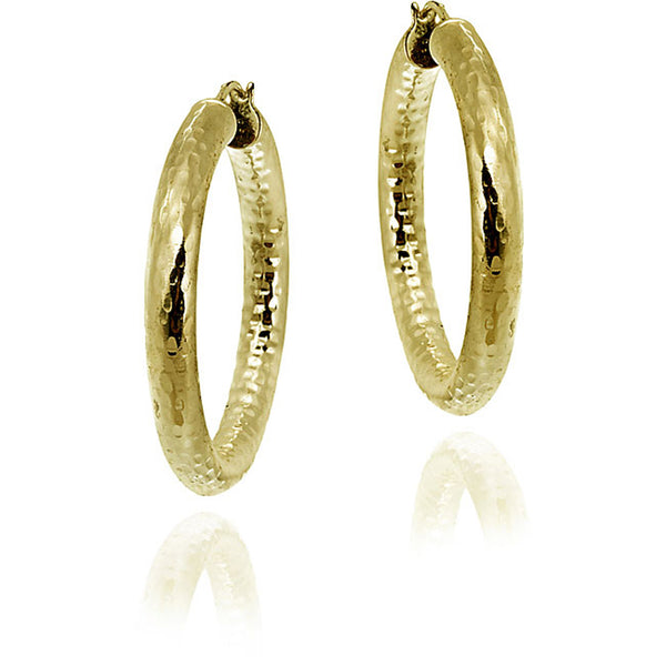 18k Gold Over Sterling Silver Saddleback Hoop Earrings
