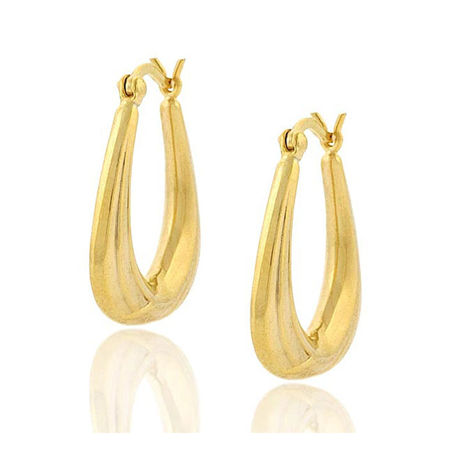 18k Gold Over Sterling Silver Triangle Saddleback Hoop Earrings