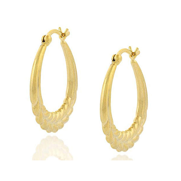 18k Gold Over Sterling Silver Vintage Leaf Saddleback Hoop Earrings