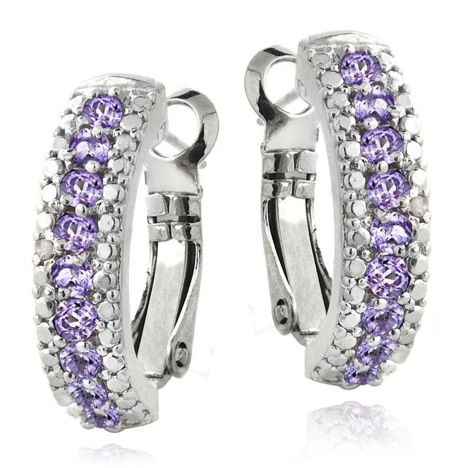 Half Hoop Gemstone & Diamond Accent Earrings - Amethyst