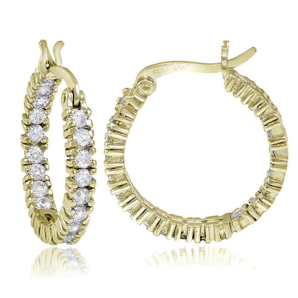 Inside Out Cubic Zirconia Saddleback Hoop Earrings - Yellow Gold