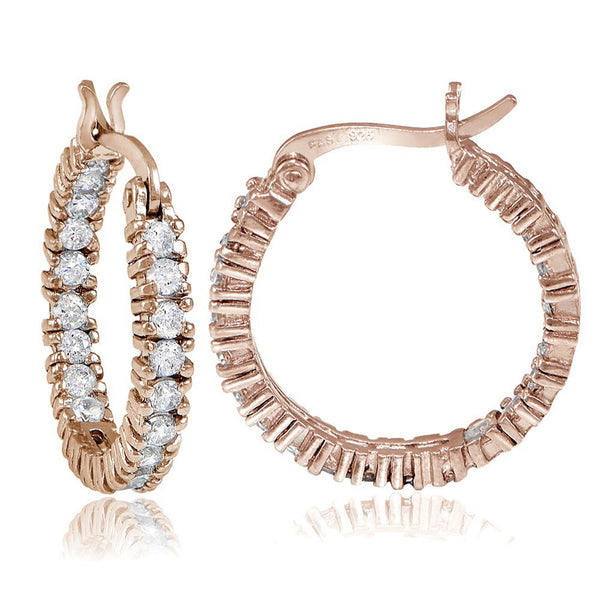 Inside Out Cubic Zirconia Saddleback Hoop Earrings - Rose Gold