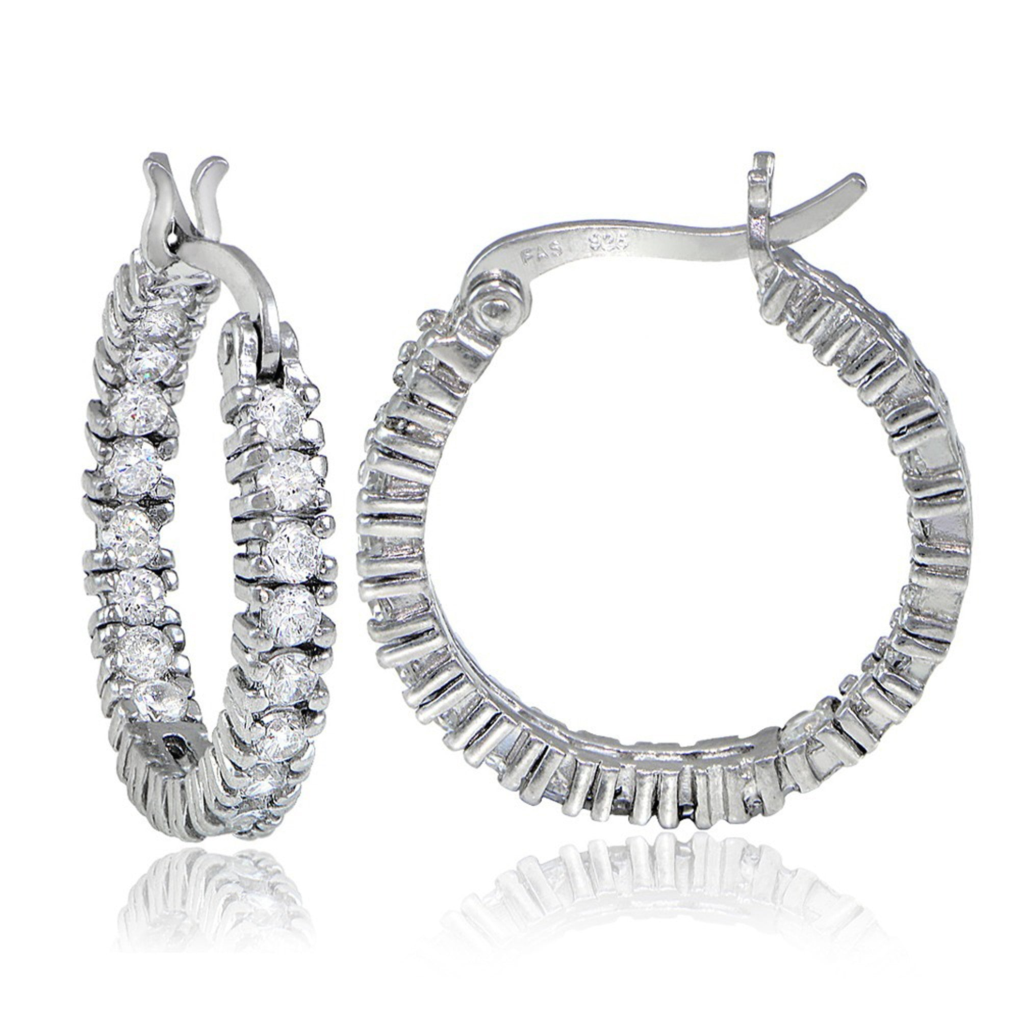 Inside Out Cubic Zirconia Saddleback Hoop Earrings - Silver