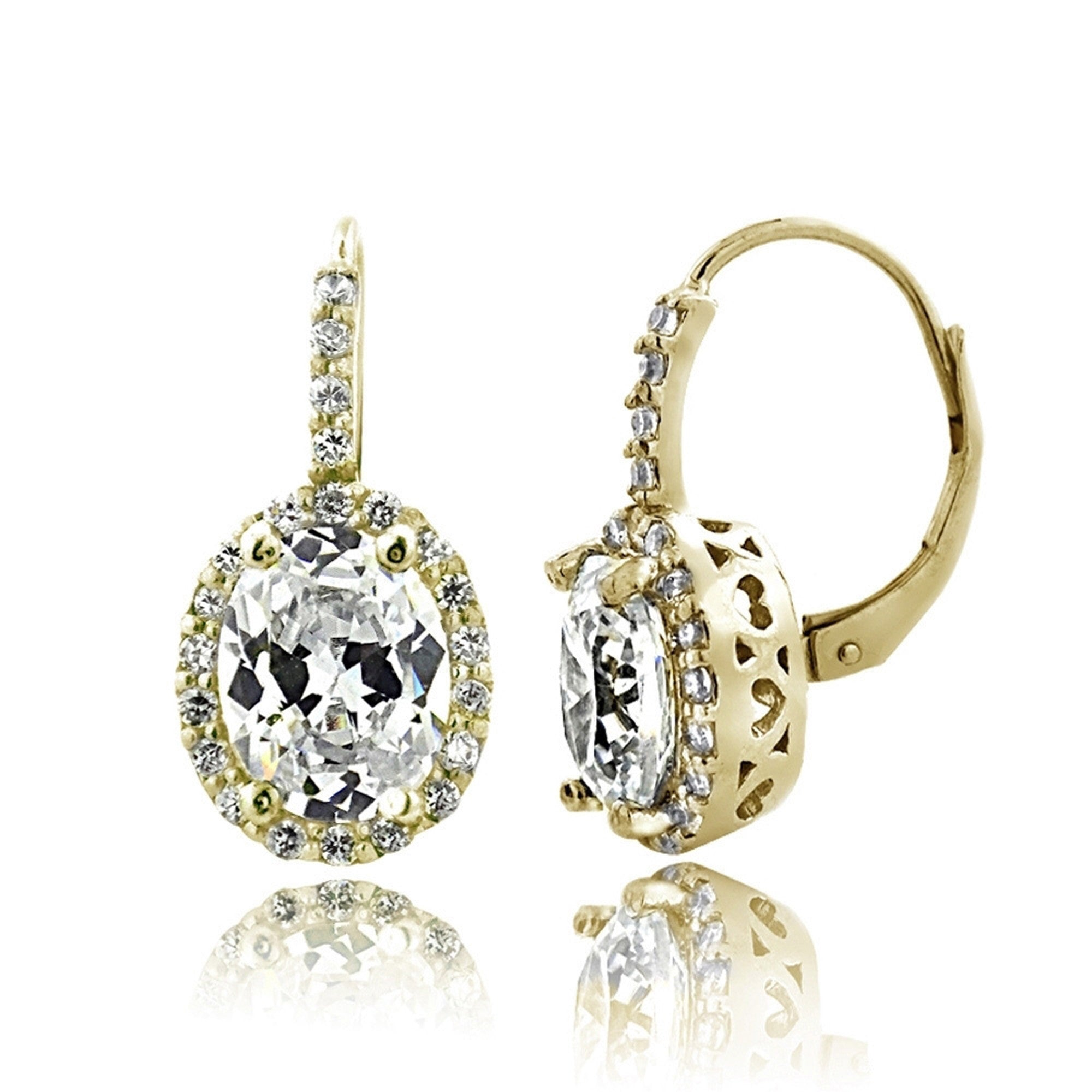Oval Cubic Zirconia Halo Leverback Earrings - Gold Tone