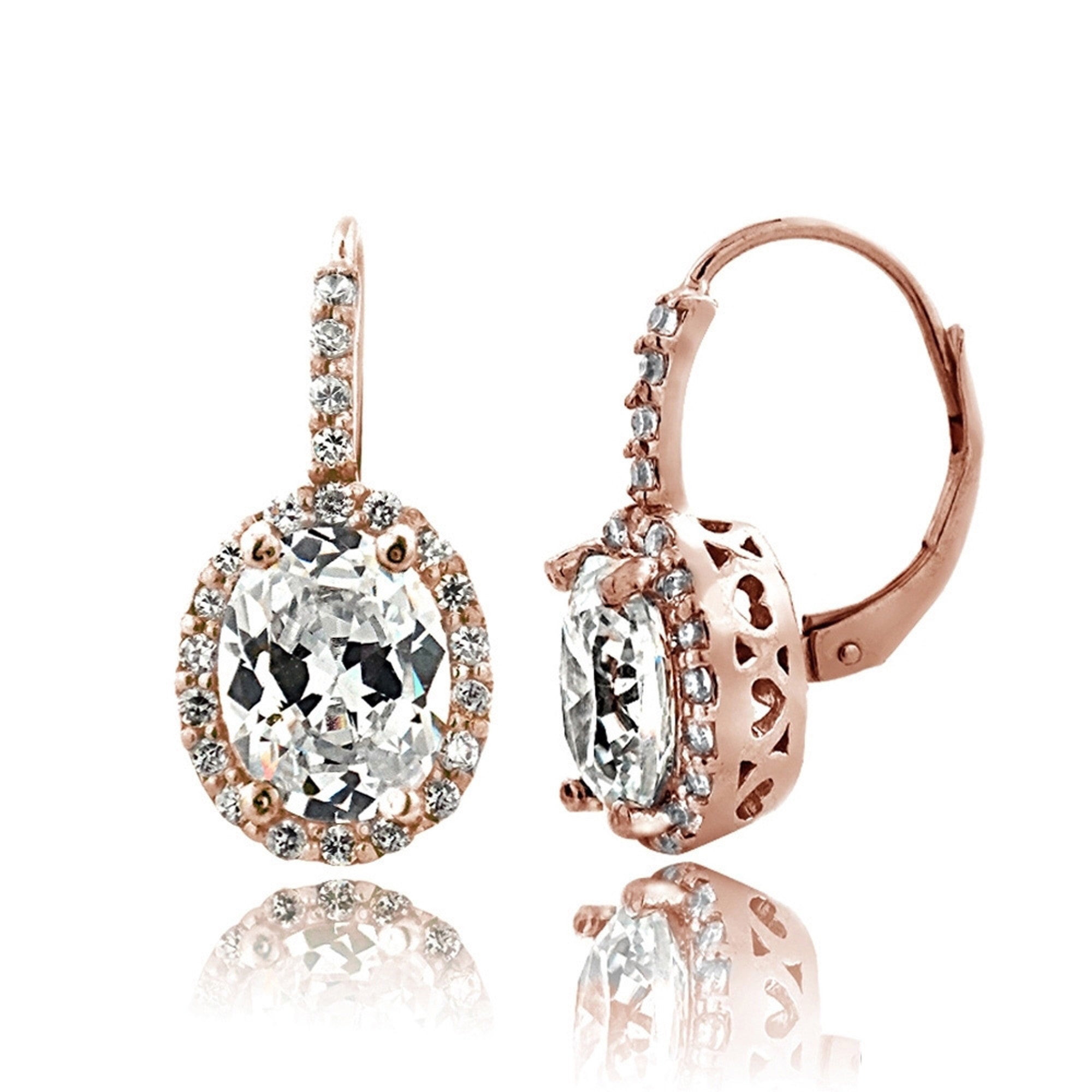 Oval Cubic Zirconia Halo Leverback Earrings - Rose Tone