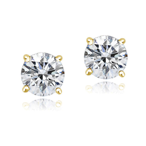 100 Facets Cubic Zirconia Butterfly Clasp Stud Earrings - Gold
