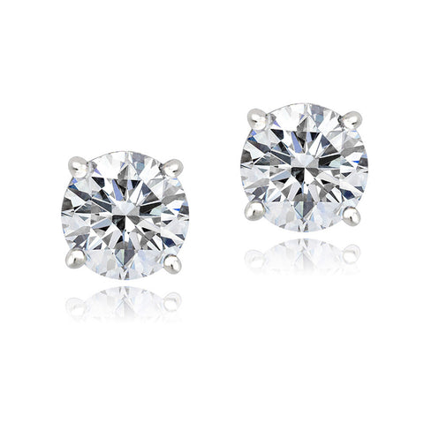 100 Facets Cubic Zirconia Butterfly Clasp Stud Earrings - Platinum Plated