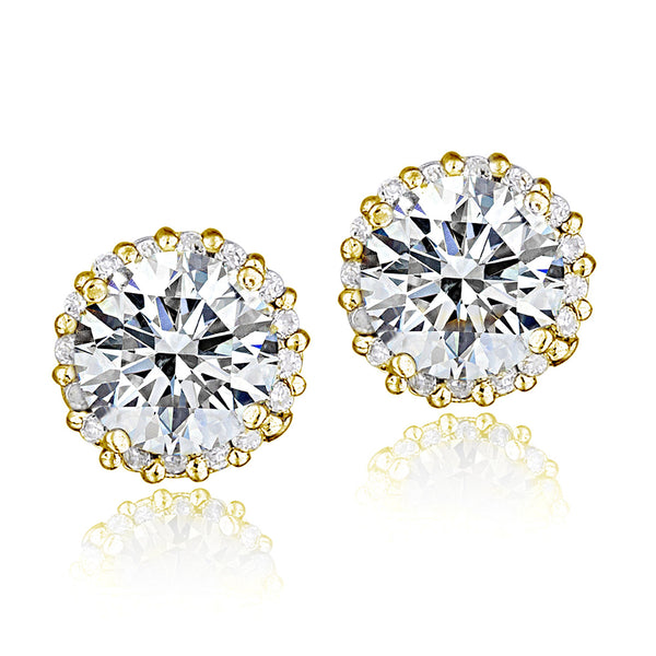 100 Facets Cubic Zirconia Halo Butterfly Clasp Stud Earrings - Gold