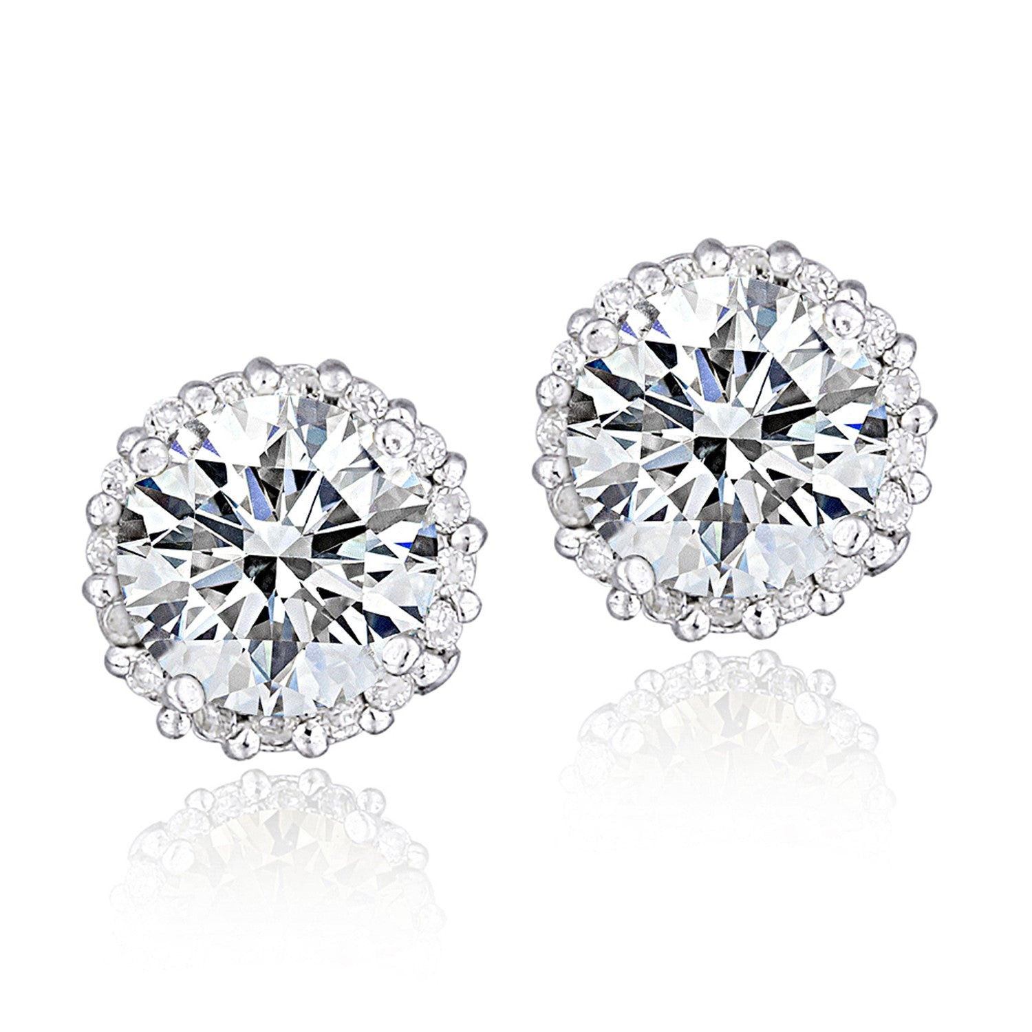 100 Facets Cubic Zirconia Halo Butterfly Clasp Stud Earrings - Platinum Plated