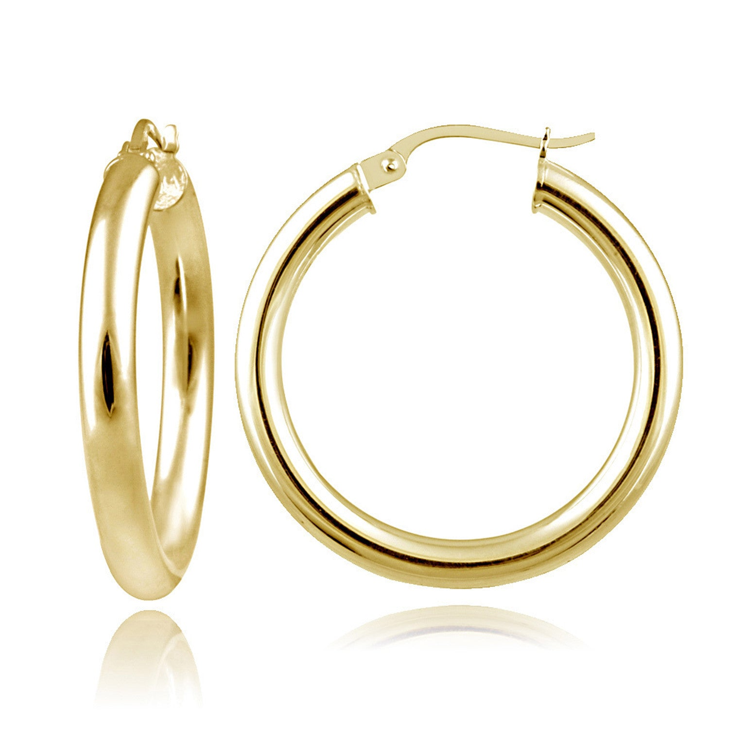 Polished Sterling Silver 25mm Round Saddleback Hoop Earrings - Yellow Gold