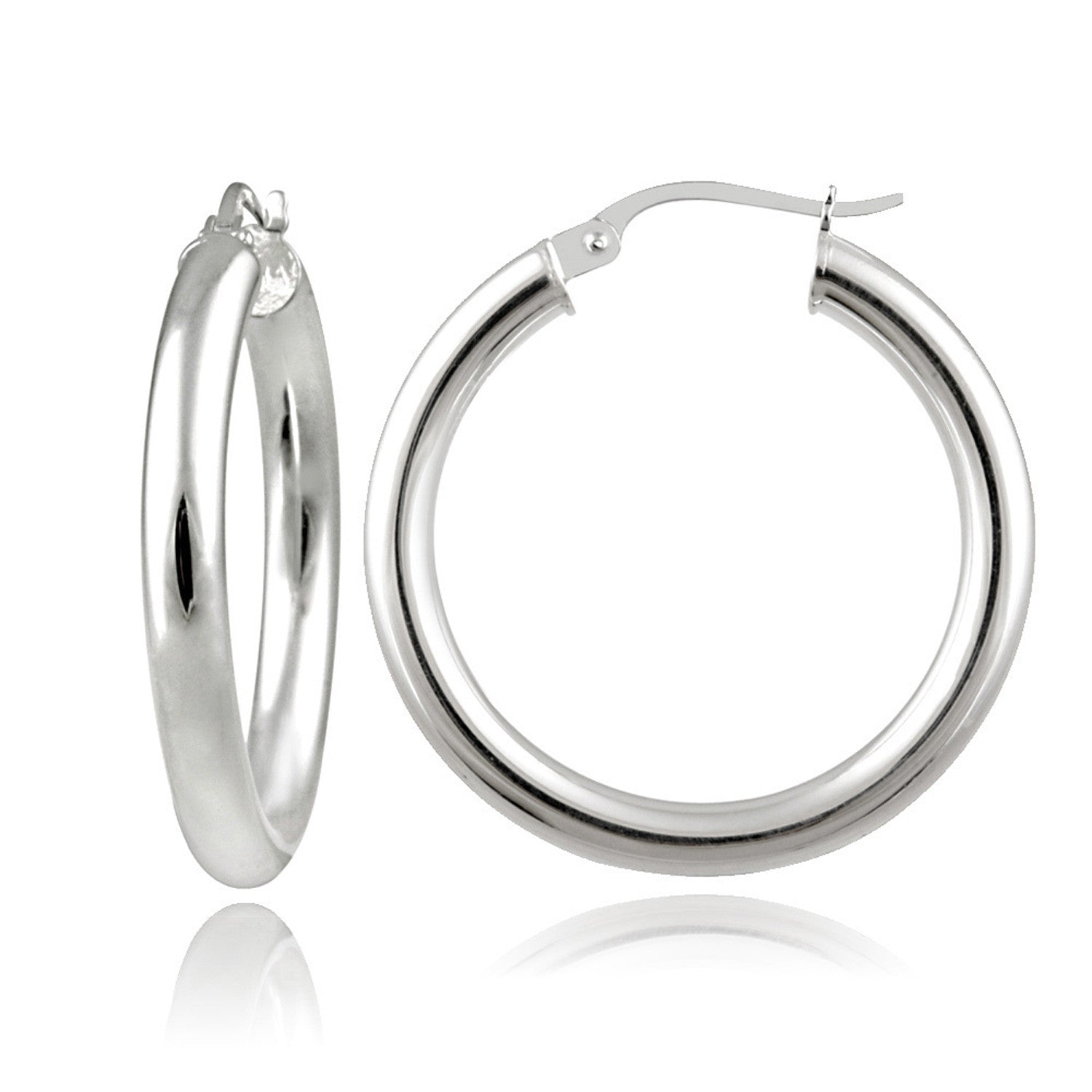 Polished Sterling Silver 25mm Round Saddleback Hoop Earrings - Silver