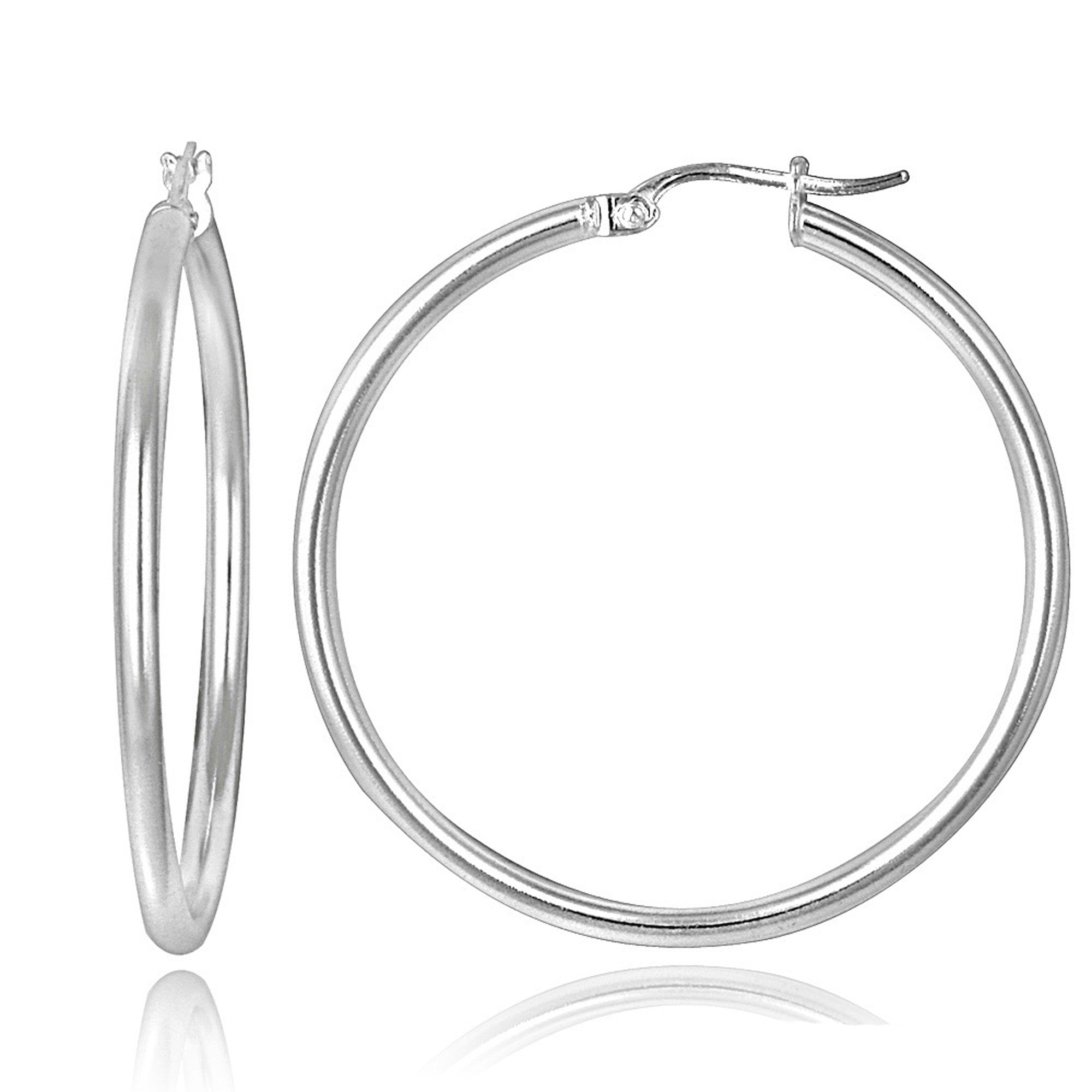 Polished Sterling Silver 30mm Round Saddleback Hoop Earrings