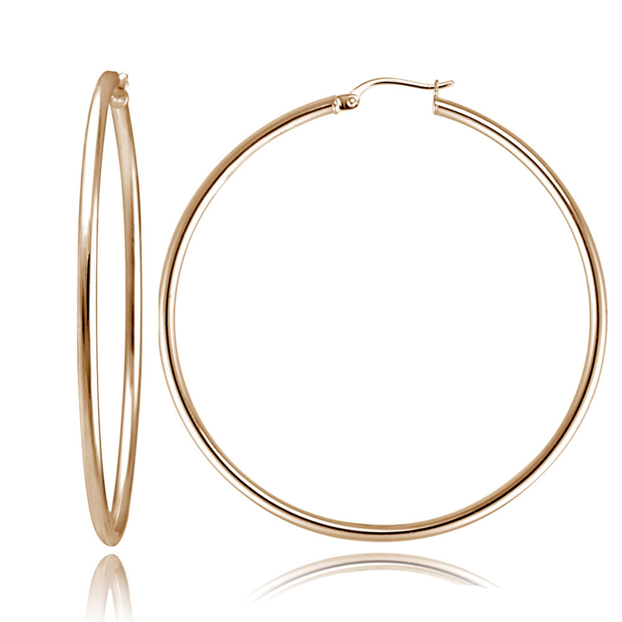 Polished Sterling Silver 50mm Round Saddleback Hoop Earrings - Rose Gold