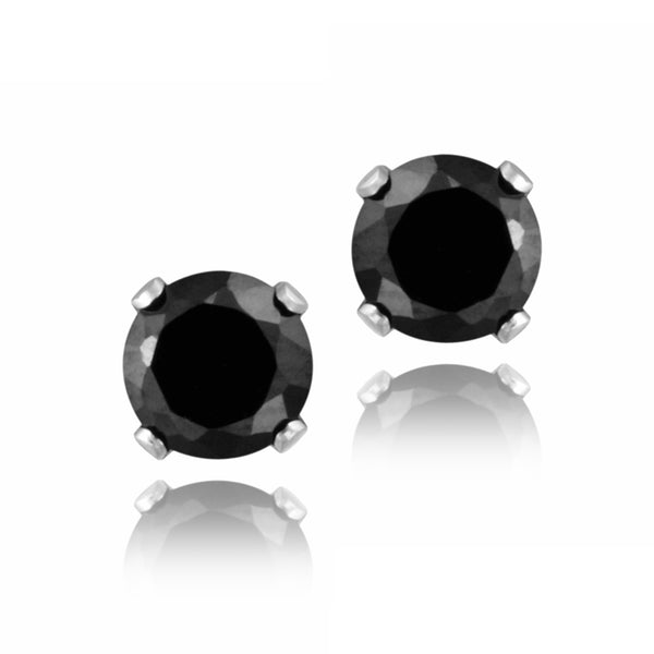 Sterling Silver 5mm Butterfly Clasp Stud Earrings - Black Spinel