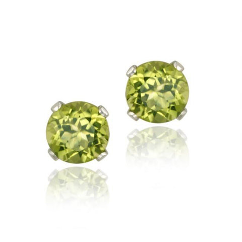Sterling Silver 5mm Butterfly Clasp Stud Earrings - Peridot