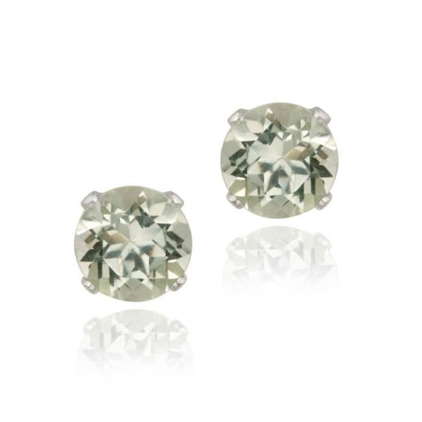 Sterling Silver 7mm Butterfly Clasp Stud Earrings - Green Amethyst