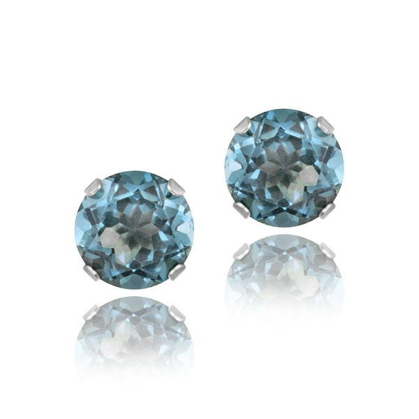 Sterling Silver 7mm Butterfly Clasp Stud Earrings - London Blue Topaz